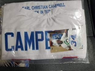 HOUSTON OILERS EARL CAMPBELL AUTOGRAPHED JERSEY CUSTOM