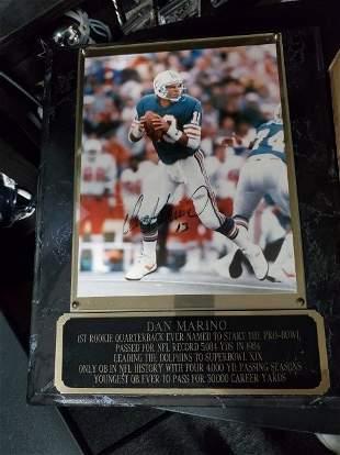 Dan Marino Autographed photo on a plaque