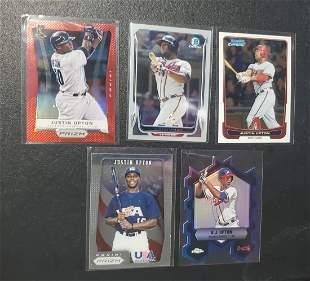 5 Justin Upton cards, Red Prizm, Bowman Chrome, Topps C