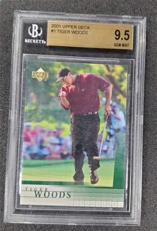 2001 Upper Deck Golf #1 Tiger Woods RC Rookie BGS 9.5