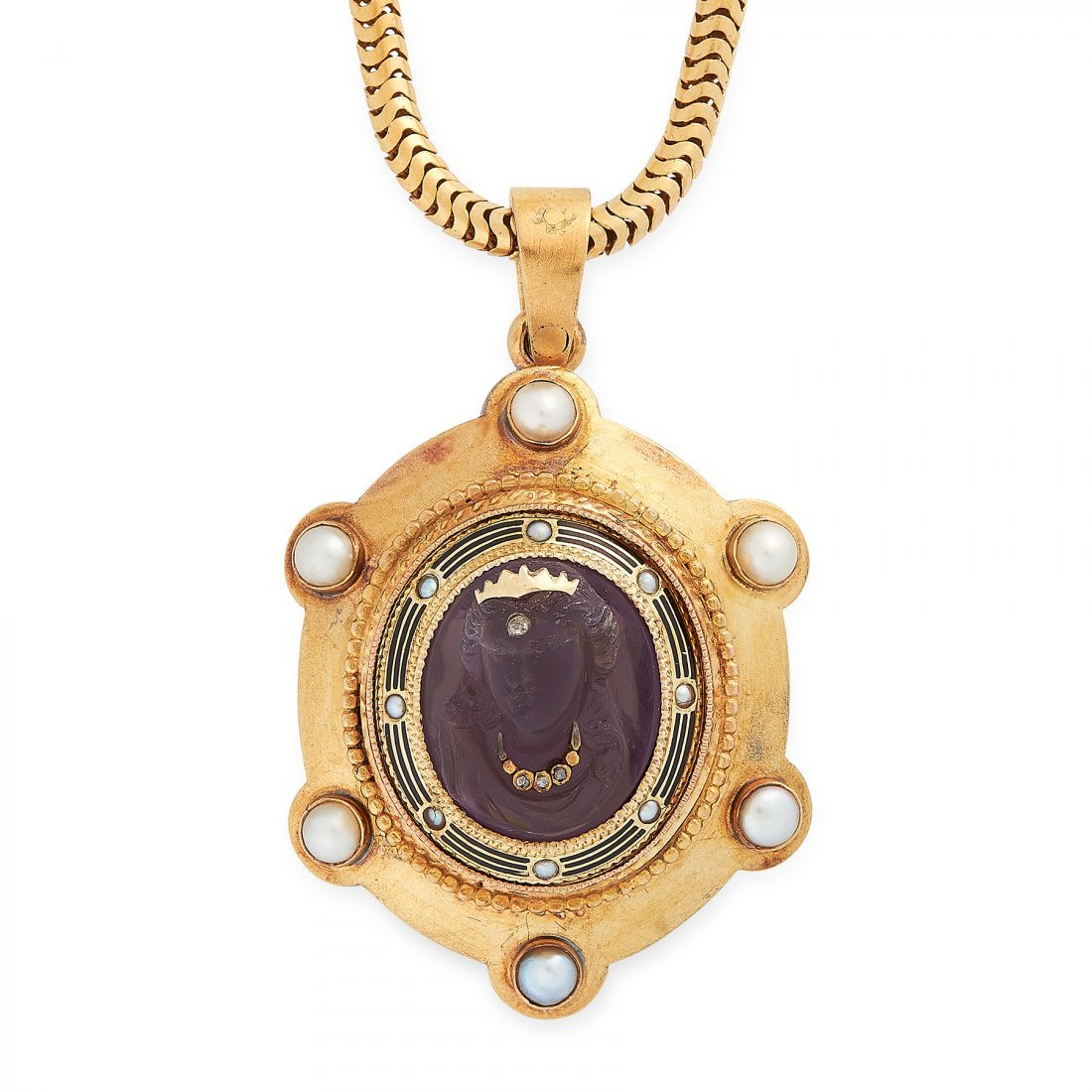 ANTIQUE AMETHYST, PEARL, ENAMEL AND PEARL CAMEO PENDANT