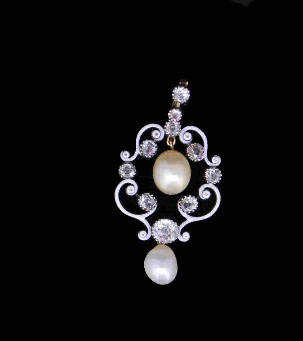 ANTIQUE NATURAL PEARL, ENAMEL AND DIAMOND PENDANT