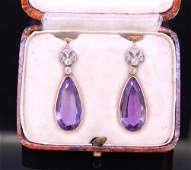PAIR OF AMETHYST AND DIAMOND DROP EARRINGS