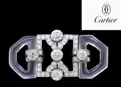 CARTIER IMPORTANT ARTDECO ROCK CRYSTAL AND DIAMOND