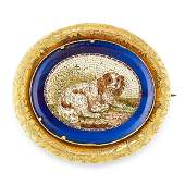 ANTIQUE OVAL MICRO MOSAIC DOG BROOCH