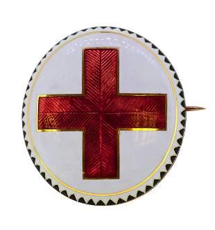 ANTIQUE RED CROSS ENAMEL BROOCH