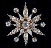 ANTIQUE DIAMOND FLOWER HEAD BROOCH