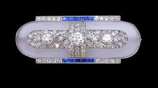 IMPORTANT ART-DECO DIAMOND SAPPHIRE AND ROCK CRYSTAL