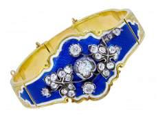 IMPORTANT ANTIQUE VICTORIAN DIAMOND AND ENAMEL BANGLE