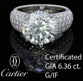 CARTIER, HIGHLY IMPORTANT 6.36 CT. DIAMOND DRESS RING