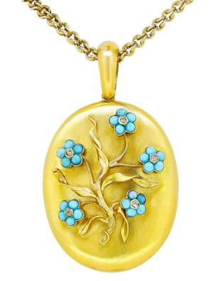 ANTIQUE VICTORIAN TURQUOISE LOCKET AND NECKLACE