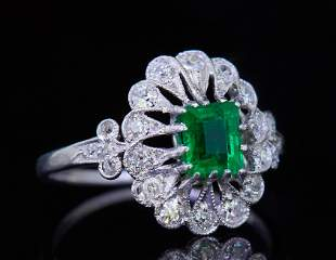 EMERALD AND DIAMOND OPENWORK CLUSTER RING