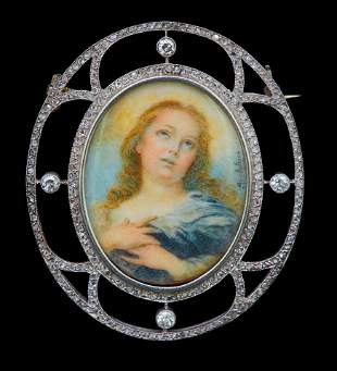 DIAMOND PORTRAIT MINIATURE BROOCH