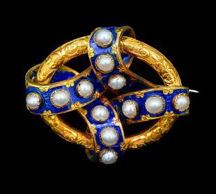 ANTIQUE PEARL AND ENAMEL BROOCH
