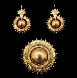 ANTIQUE VICTORIAN BROOCH AND EARRING SET