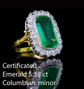 IMPORTANT 5.38 CT. COLOMBIAN EMERALD AND DIAMOND
