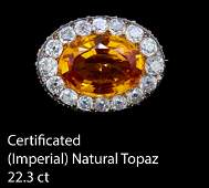IMPORTANT NATURAL IMPERIAL TOPAZ AND DIAMOND BROOCH