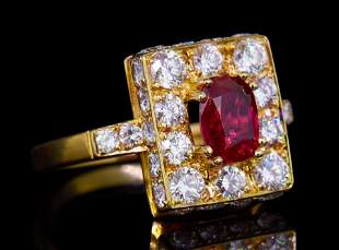 1.38 CT. THAI RUBY AND DIAMOND CLUSTER RING