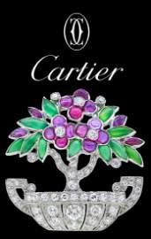 CARTIER, IMPORTANT ART-DECO DIAMOND, RUBY AND JADE