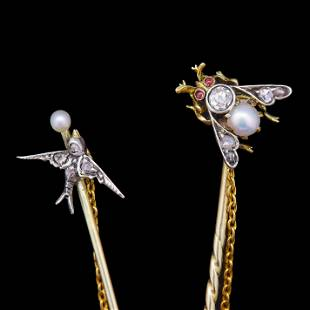 ANTIQUE VICTORIAN PEARL AND DIAMOND DOUBLE TIE PIN