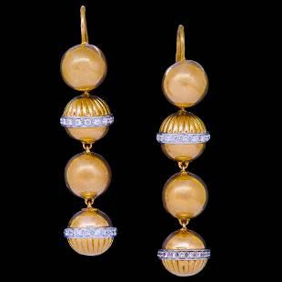 PAIR OF RETRO DIAMOND BALL DROP EARRINGS