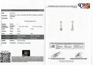 IMPORTANT PAIR OF NATURAL SATWATER PEARL AND DIAMOND