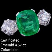 IMPORTANT CERTIFICATED 4.57 CT. COLOMBIAN EMERALD AND