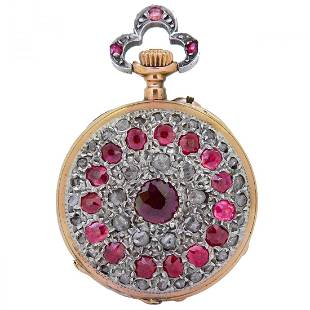 ANTIQUE RUBY AND DIAMOND POCKET WATCH