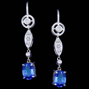 -NO RESERVE- PAIR OF SAPPHIRE AND DIAMOND DROP EARRINGS