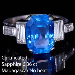 CERTIFICATED SAPPHIRE AND DIAMOND DRESS RING