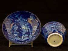 Franklins Tomb Historical Staffordshire Cup  Saucer