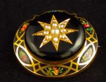 Antique Victorian 14K Gold & Enamel Mourning Brooch