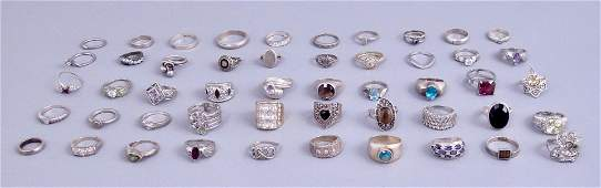 Huge Group of Sterling Silver Rings