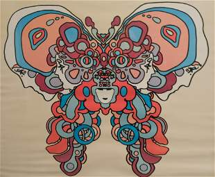 Vintage Peter Max Butterfly Poster Signed