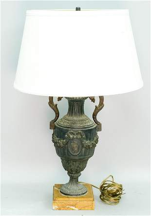 Neoclassical Bronze Urn Form Table Lamp