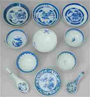 Group Chinese Blue and White Porcelain Table Wares