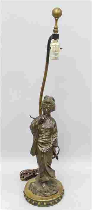 Early to Mid 20th C. Japanese Bronze Figural Lamp