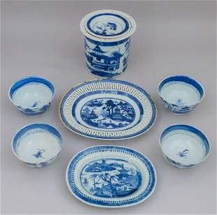 Nice lot of Blue and White Chinese Canton