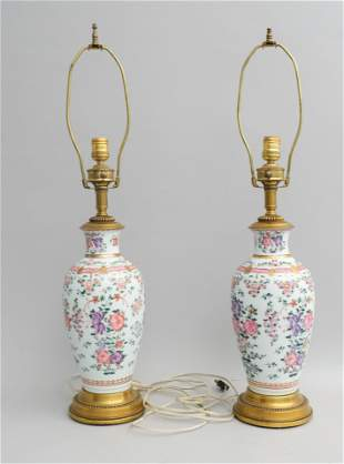 Pair of Samson Style Chinese Porcelain Lamps