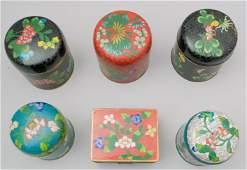 Group of 6 Chinese Cloisonne Boxes
