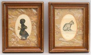 Early American Silhouette and Watercolor of Cat