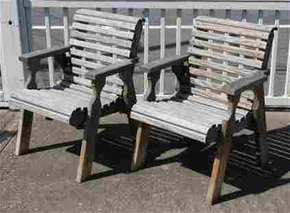 Pair of Wooden Outdoor Armchairs