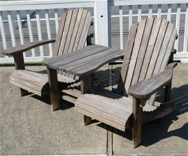 Solid Wood Double Adirondack Chair with Table