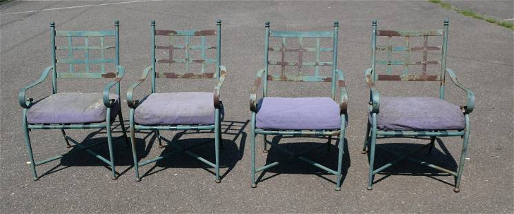 Four Antique Metal Regency Style Outdoor Armchairs