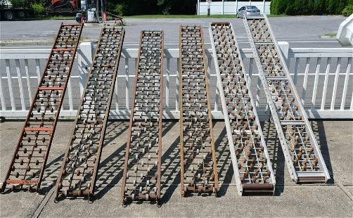 Lot of Six Vintage Box Roller Conveyers