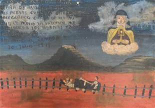 Mexican Religious Retablo Painting 1949