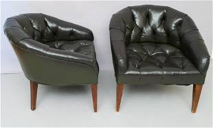 Pair of Button Tufted Leather Club Chairs