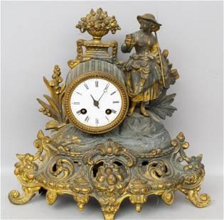 Antique Gilt Metal Figural Mantle Clock