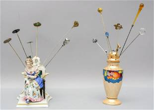 Group of Hat Pins & Two Porcelain Hat Pin Holders