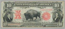 1901 $10 Dollar Legal Tender Buffalo Bison Bill